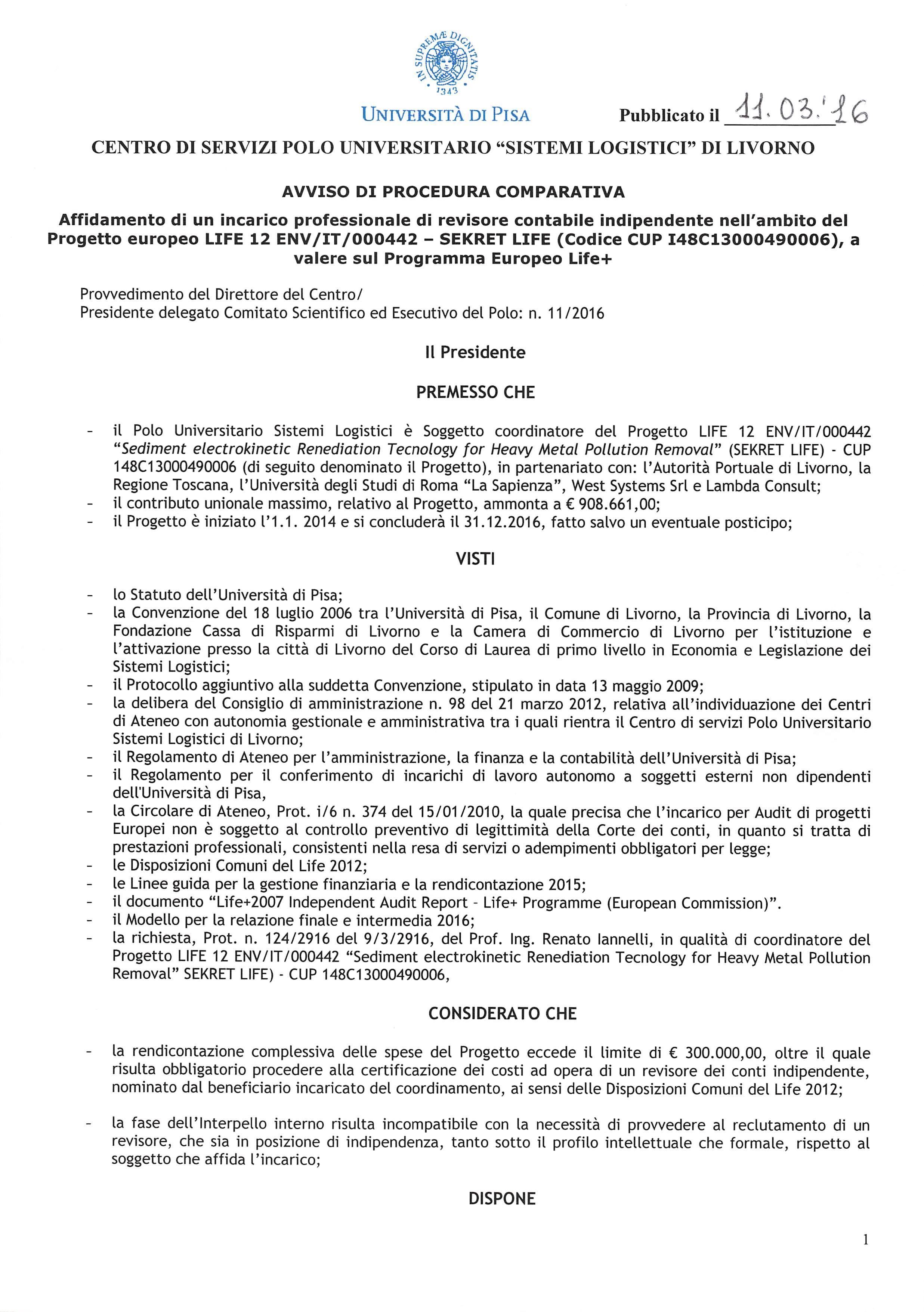 Bando Auditor interno - Progetto SEKRET LIFE_Page_1